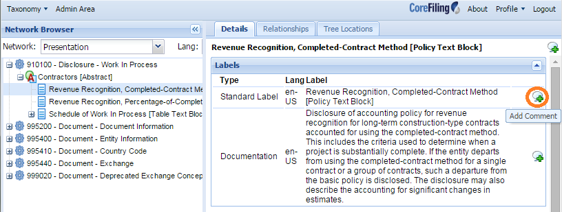 Click any green icon at right to comment about a specific feature of the taxonomy - element name, label, documentation, etc.