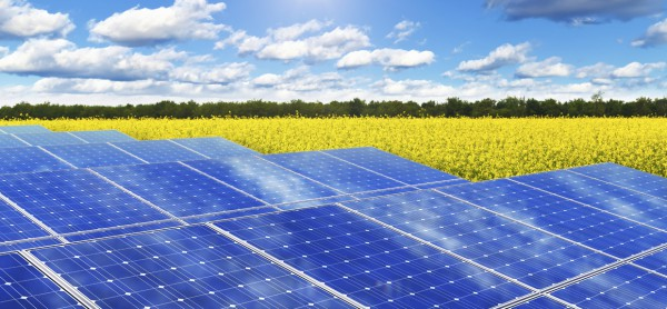 Creative solar power generation technology, alternative energy and environment protection ecology business concept: group of solar battery panels in yellow rural rape field against blue sky with sun light and clouds