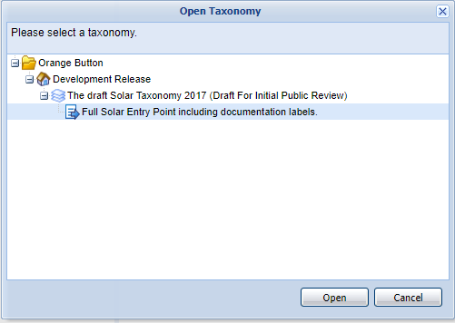 Click the + for The draft Solar Taxonomy 2017, then select 'Full Solar Entry Point including documentation labels.' and click the Open button to load the taxonomy.